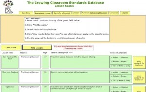 The Growing Classroom Standards Database